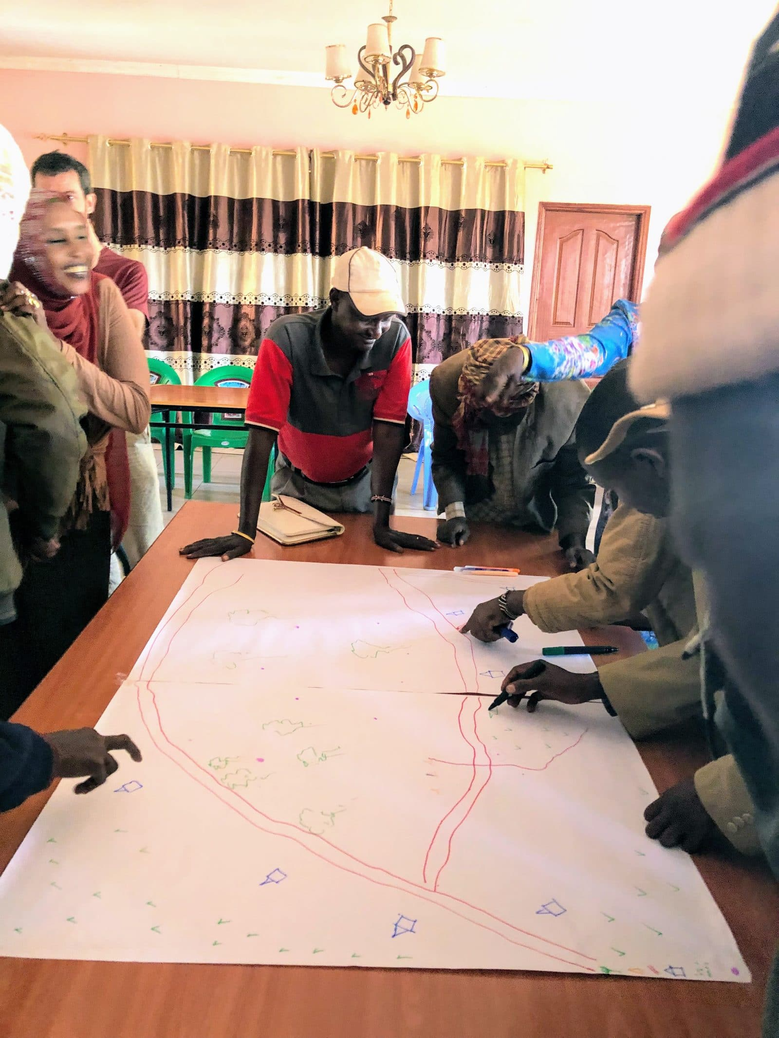 Participants sketching their territory at Land based COMMONS fgds